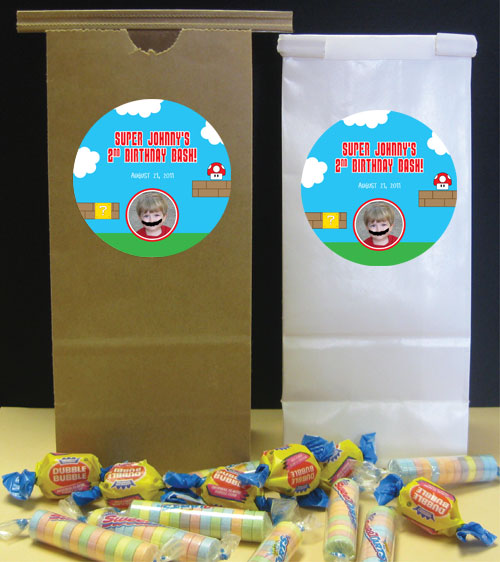 Birthday Super Mario Brothers Theme Party Favor Bag, Photo / A Super Mario Brother's favor bag