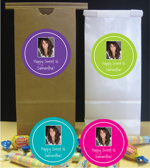 A Custom Sweet 16 Photo Party Favor Bag