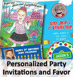 Kids Birthday Party Invitations and Favors