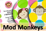 Mod Monkey theme boys and girls birthday party