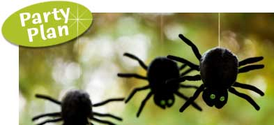 Spider Halloween Party. Spider theme party supplies, invitations. Creepy crawler invitations.