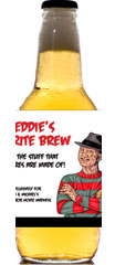 personalized 80s horror movie beer bottle label