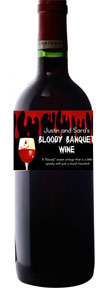 personalized bloody banquet wine bottle label
