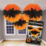 Black and Orange Hanging Fluffy Ball Decorations