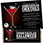 Halloween cocktails, spooky spirits theme invitations and favors