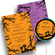 Halloween wedding invitations, favors and thank you notes