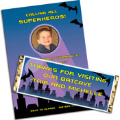 Batman theme Halloween party invitations and favors.