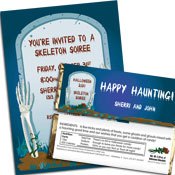 Grave theme halloween party invitations and favors