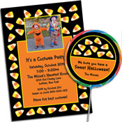 Candy Corn Halloween invitations and party supplies