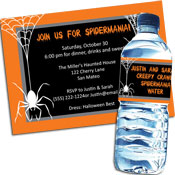 Spider theme halloween invitations and favors