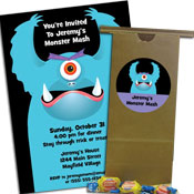 Halloween monster theme invitations and party favors