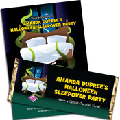 Halloween sleepover party invitations and party favors