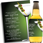 New Year's Eve Martini Theme invtiations