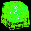 green glowing ice cubes