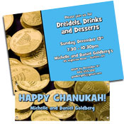 Hannukah gelt theme invitations and party favors