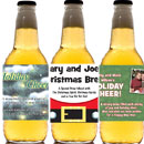 Christmas beer bottle labels