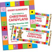 Christmas Candyland theme invitations and favors