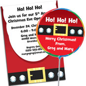 Santa Suit theme Christmas invitations and favors