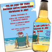 Christmas in July theme invitations and favors