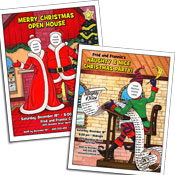 Christmas caricature invitations
