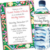 Christmas candy candy theme invitations and favors