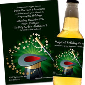 Holiday magic theme invitation and favors