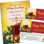 Holiday lights theme invitation and favors