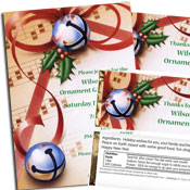 Christmas bell theme invitation and favors