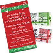 Christmas ticket invitations and backstage passes