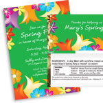 Flower theme invitations and favors