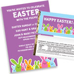Easter bunnies theme invitations and favors