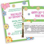 Spring Flower theme invitations and favors