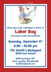 personalized labor day barbeque invitation