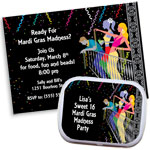 Mardi Gras balcony theme invitations and favors