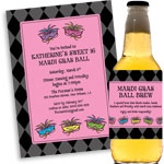 Mardi Gras beads and mask theme invitations and favors