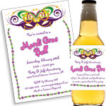 See all custom Mardi Gras invitations and party favors
