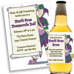 Mardi Gras Jester theme invitations and favors
