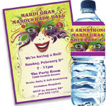 Mardi Gras mask theme invitations and favors
