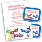 Mardi Gras masquerade theme invitations and favors