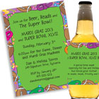 Mardi Gras Super Bowl theme invitations and favors