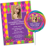 Mardi Gras party theme invitations and favors, photo invitations
