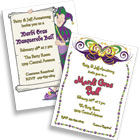 Mardi Gras theme invitations and favors