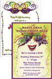 Mardi Gras theme party invitations