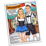 Oktoberfest theme semi custom caricature invitation