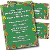 Football fiesta theme invitations and favors