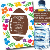Custom Super Bowl Luau theme invitations and favors