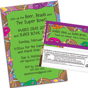 personalized football mardi gras invitation