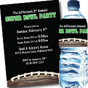 Custom Super Bowl invitations, party supplies and favors