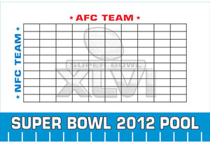Super Bowl Betting Squares On a Board