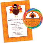 Custom Thanksgiving invitations, party supplies and favors
